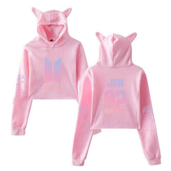 BTS 'Members' Cat Ear Cropped Hoodie Pink The KPOP Dept. - KPOP AIR