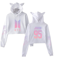 BTS 'Members' Cat Ear Cropped Hoodie White The KPOP Dept. - KPOP AIR