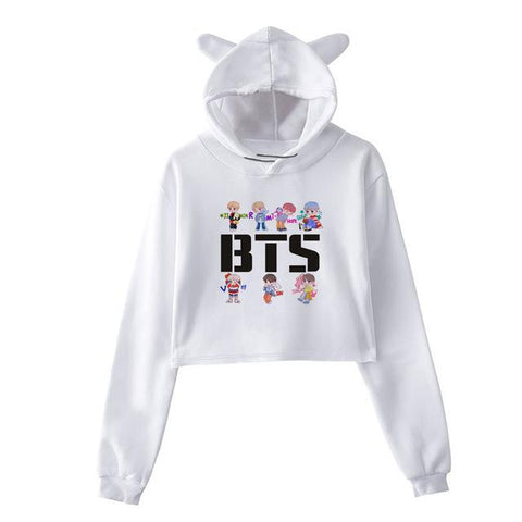 "BTS ""LOVE YOURSELF"" CUTE CHARACTER CROP TOPS"