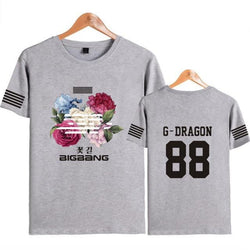 "BIGBANG ""FLOWER ROAD"" STRIP T-SHIRT GRAY"