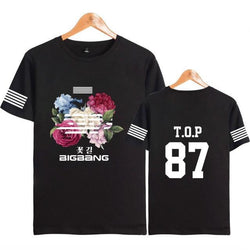 "BIGBANG ""FLOWER ROAD"" STRIP T-SHIRT BLACK"