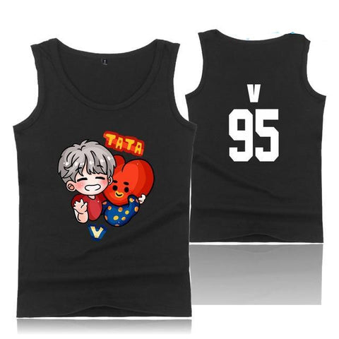 "BTS ""CUTE CHARACTER"" TANK TOP BLACK"