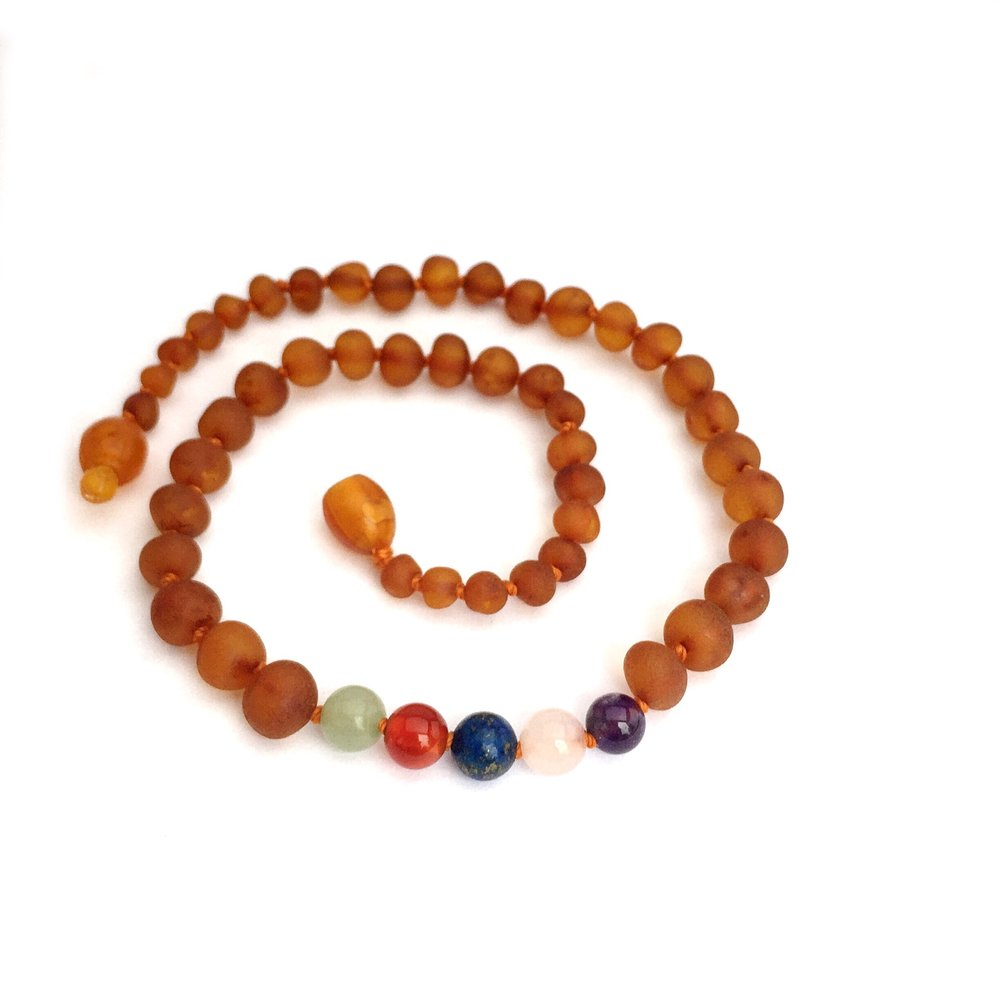 Momma Goose Amber Teething Necklace - Raw Cognac & Gem Rainbow