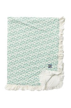 KICKEE PANTS RUFFLE ALOE WATER LATTICE TODDLER BLANKET