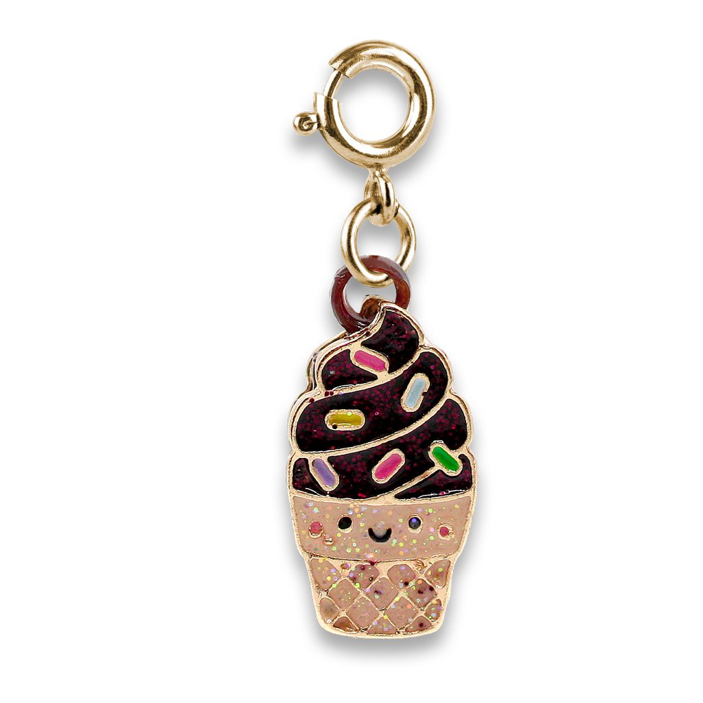 Charm it! Gold scented chocolate soft serve cone charm