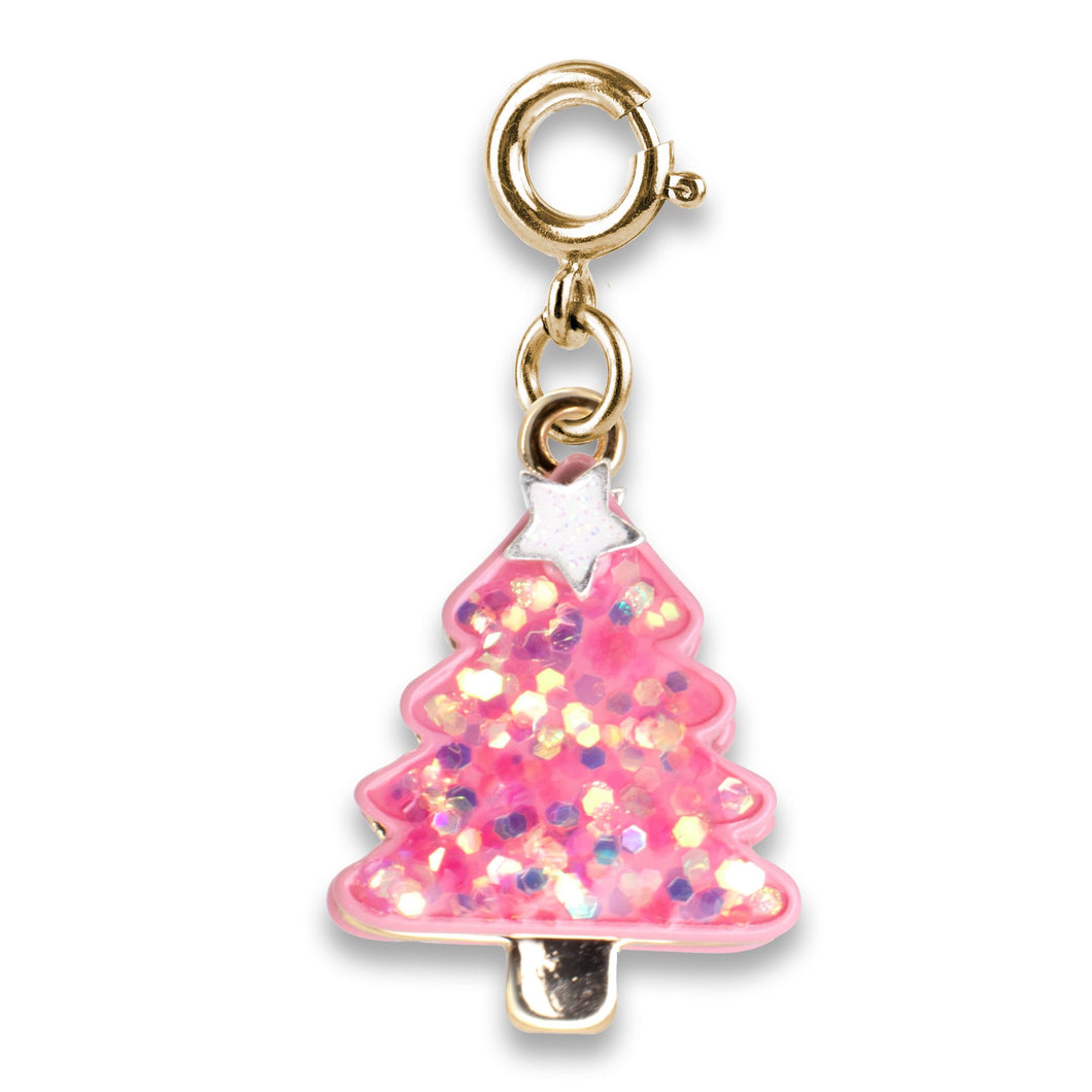 Charm It! Gold Pink Christmas Tree Charm