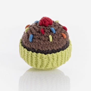 Pebble Rattle - Cupcake - Lime w Chocolate and Cherry
