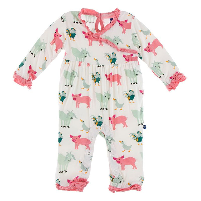 Kickee Pants Print Long Sleeve Kimono Ruffle Romper Natural Farm Animal
