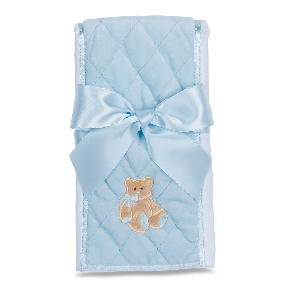 Huggie Teddy Bear Burp Cloth Blue