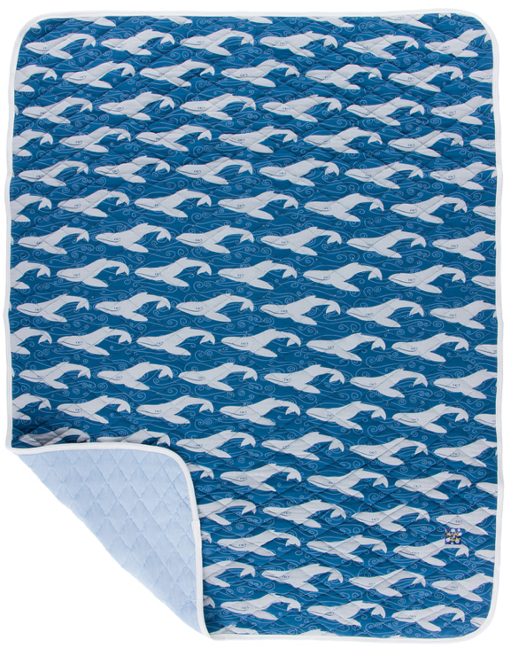 KicKee Pants Quilted Stroller Blanket Twilight Whale