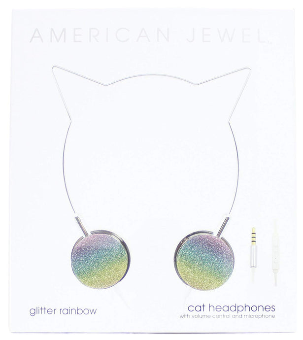 American Jewel - Cat Headphones - Glitter Rainbow