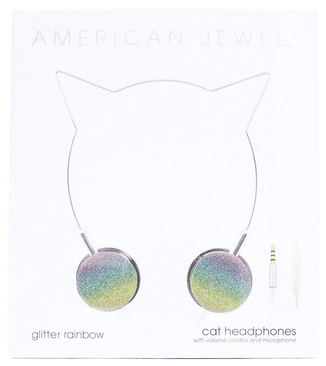 American Jewel - Cat Headphones - Glitter Rainbow SALE