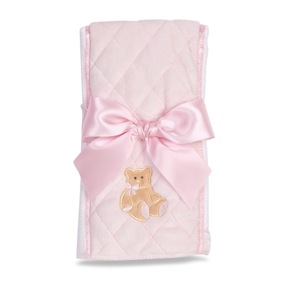 Huggie Teddy Bear Burp Cloth Pink