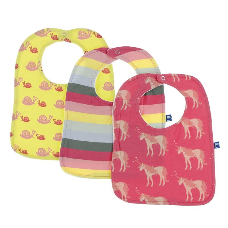 Kickee Pants Bib Set (Banana Snails, Biology Stripe & Red Ginger Unicorns - One Size) Preorder