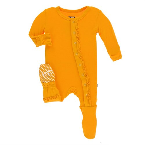KicKee Pants Little Girls Solid Muffin Ruffle Footie with Snaps - Tamarin