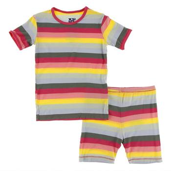Kickee Pants Print Short Sleeve Pajama Set with Shorts (Biology Stripe)