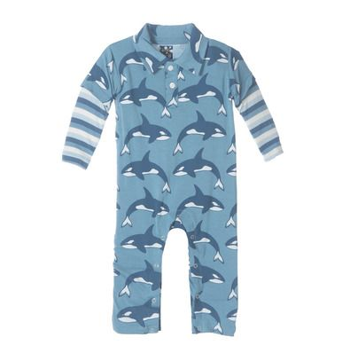 KicKee Pants Print Long Sleeve Polo Romper - Blue Moon Orca