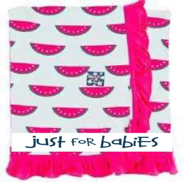 KicKee Pants Ruffle Stroller Blanket - Watermelon W/Prickly Pear