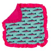 KICKEE PANTS PRINT RUFFLE TODDLER BLANKET GLASS RAINBOW TROUT