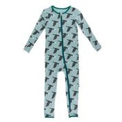 KICKEE PANTS PRINT COVERALL WITH ZIPPER JADE MALLARD DUCK
