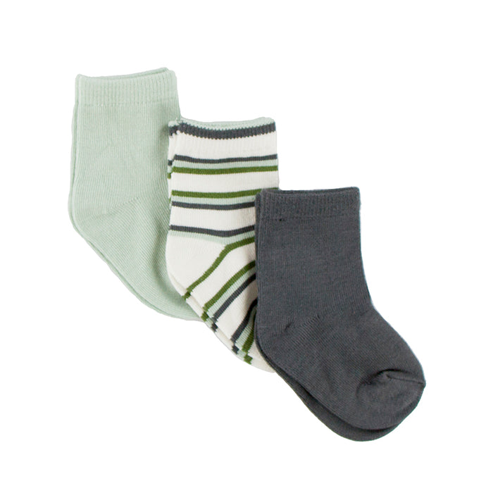 KicKee Pants Boy Socks - Aloe, Boy Freshwater Stripe, & Stone
