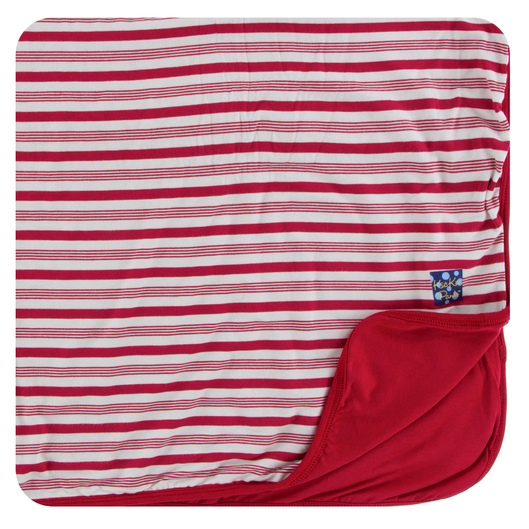 KicKee Pants Swaddling Blanket - Crimson Candy Cane Stripe