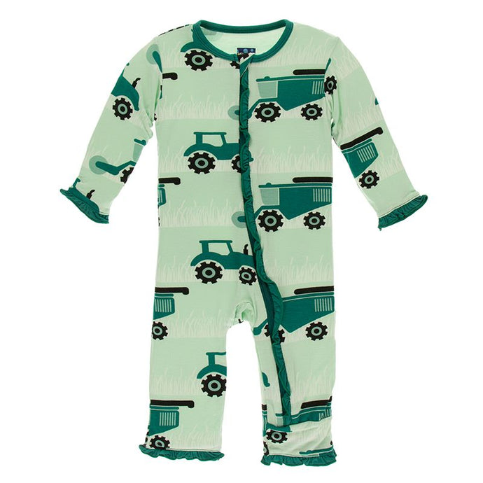 Kickee Pants Print Muffin Ruffle Coverall w Zipper Pistachio Tractor and Wheat