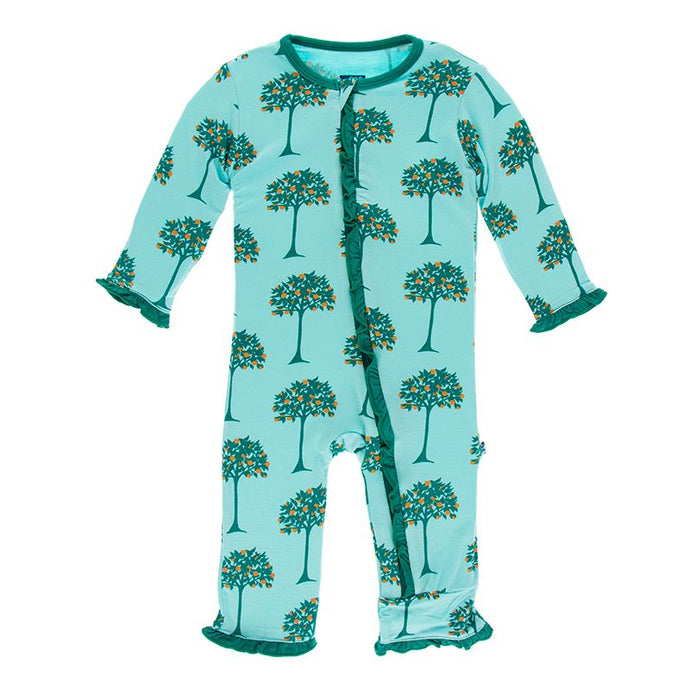Kickee Pants Print Muffin Ruffle Coverall w Zipper Iceberg Orange Trees