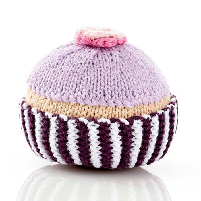 Pebble Rattle - Cupcake - Lilac Icing w Flower