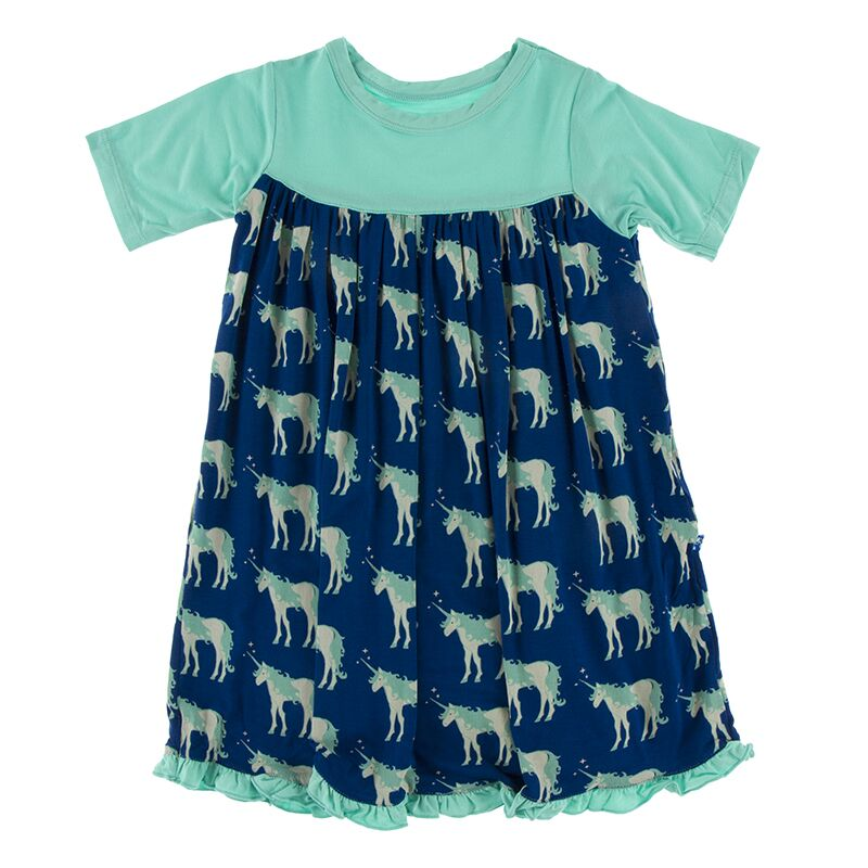 Kickee Pants Print Classic Short Sleeve Swing Dress (Flag Blue Unicorns) Preorder