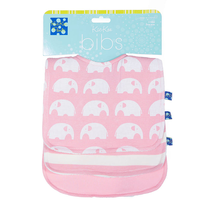 KicKee Pants Essentials Bib Set - Lotus Stripe, Lotus, & Lotus Elephant