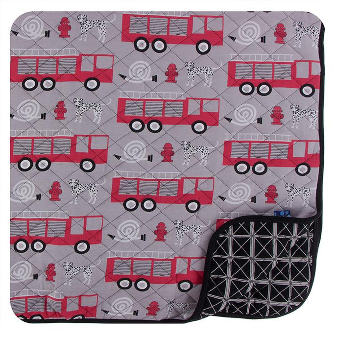 KICKEE PANTS PRINT QUILTED TODDLER BLANKET FEATHER FIRE FIGHTER/ MIDNIGHT INFRASTRUCTURE