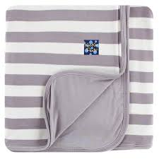 KicKee Pants Stroller Blanket - Feather Contrast Stripe