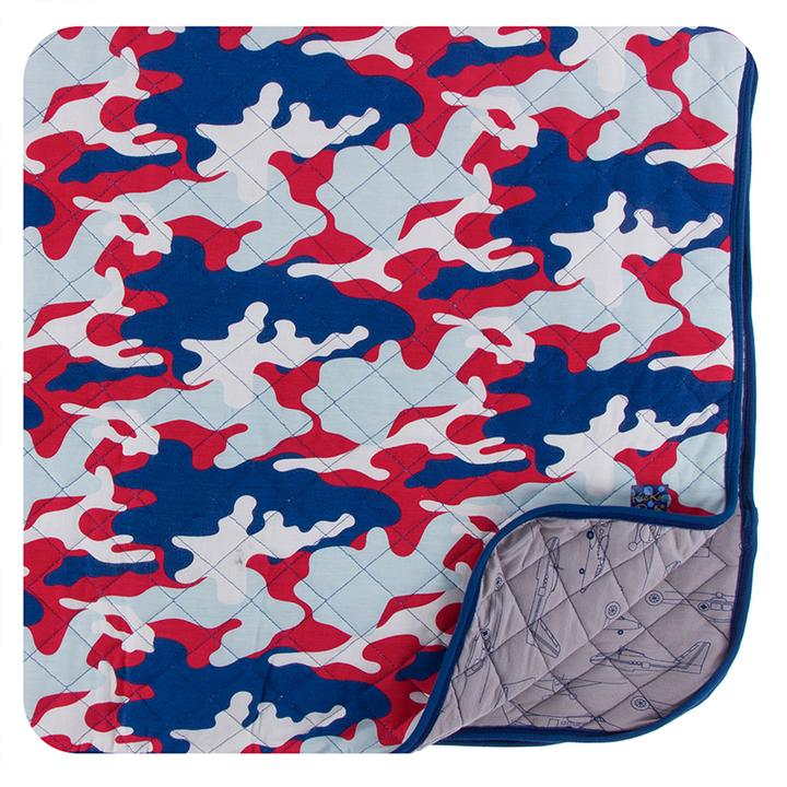 KICKEE PANTS PRINT QUILTED TODDLER BLANKET FLAG RED MILITARY/ FEATHER HEROES IN THE AIR