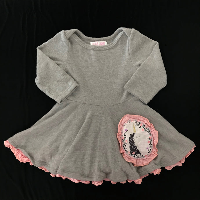 Five Loaves Two Fish Knit Long Sleeve Play Dress - Unicorn
