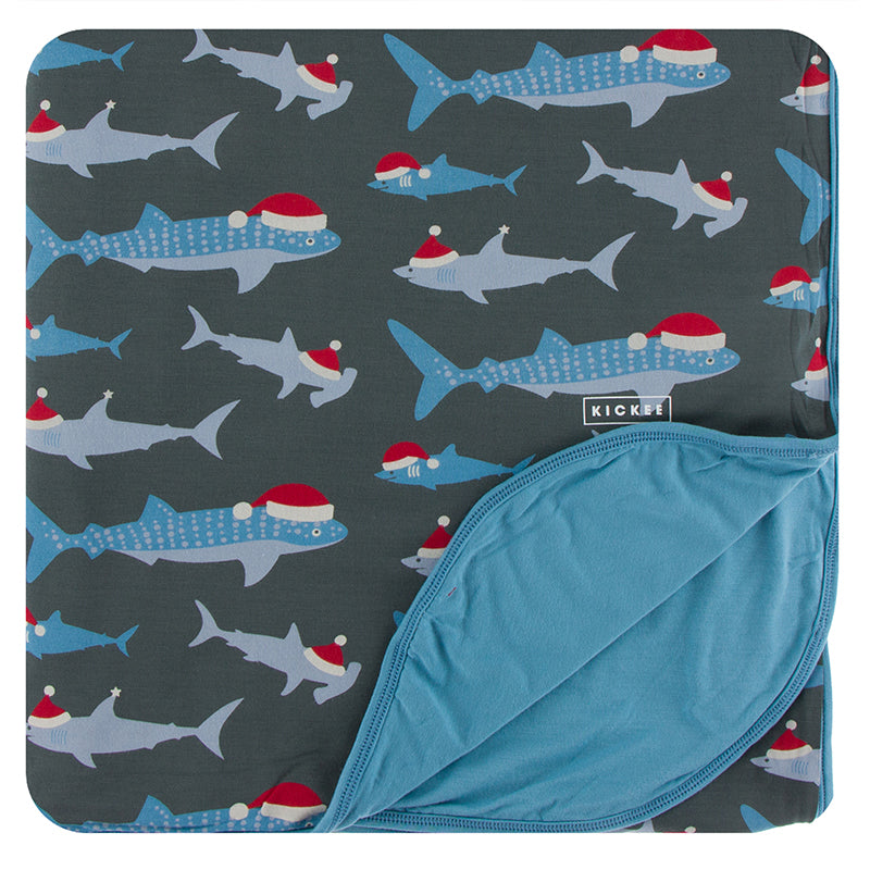 KICKEE PRINT TODDLER BLANKET PEWTER SANTA SHARKS
