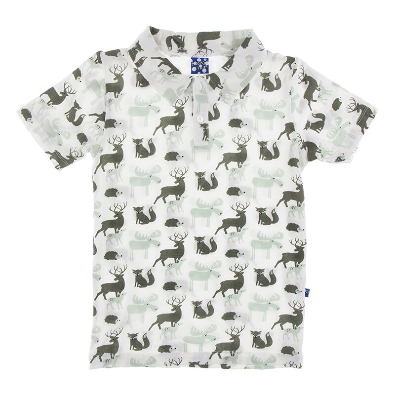 Kickee Pants Print Short Sleeve Polo (Natural Forest Animals - 4T) Preorder