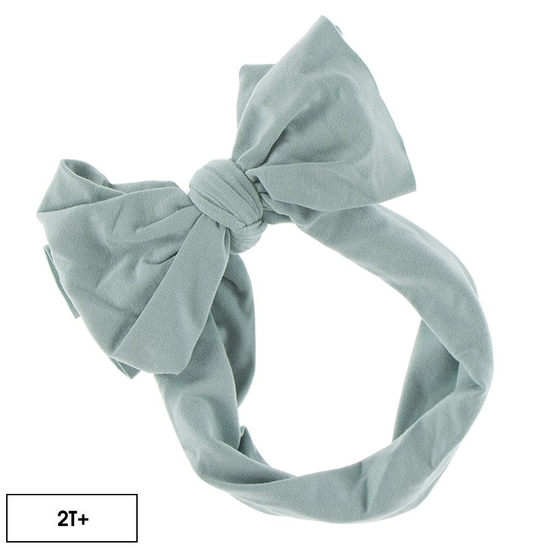 KICKEE PANTS SOLID LUXE HEAD WRAP WITH BOW IN JADE (2T+BOW)