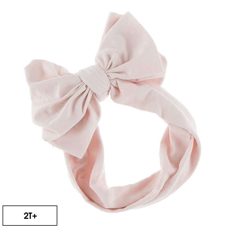 KICKEE PANTS SOLID LUXE HEAD WRAP WITH BOW IN MACAROON (2T+BOW)