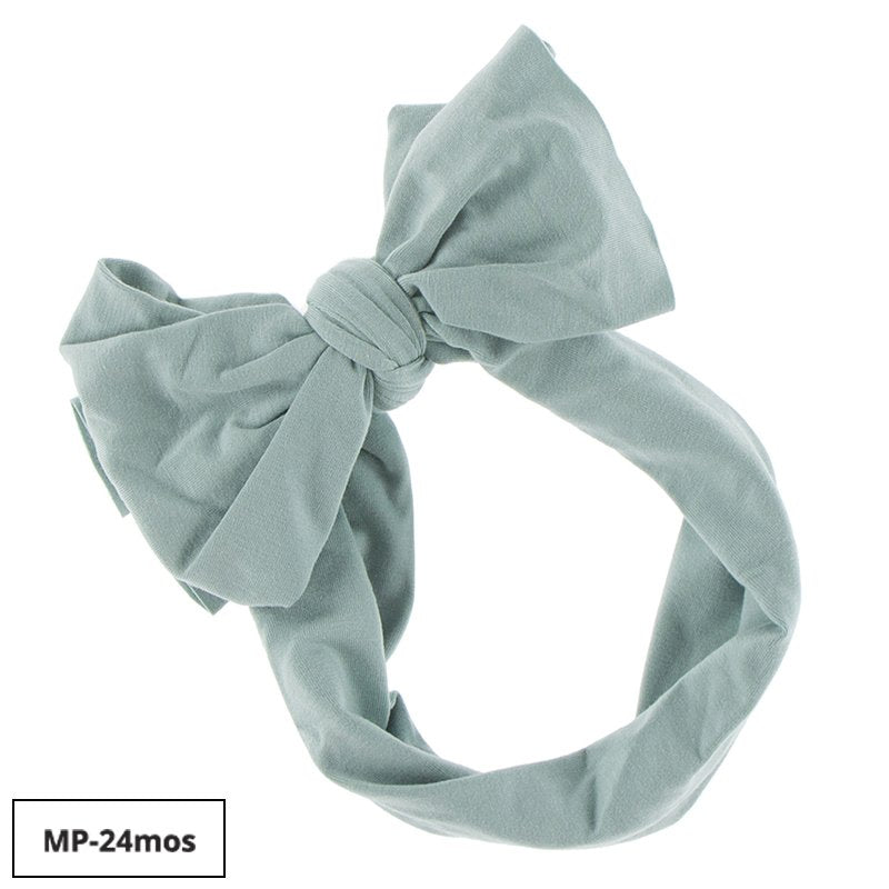 KICKEE PANTS SOLID LUXE HEAD WRAP WITH BOW IN JADE (NEWBORN BOW)