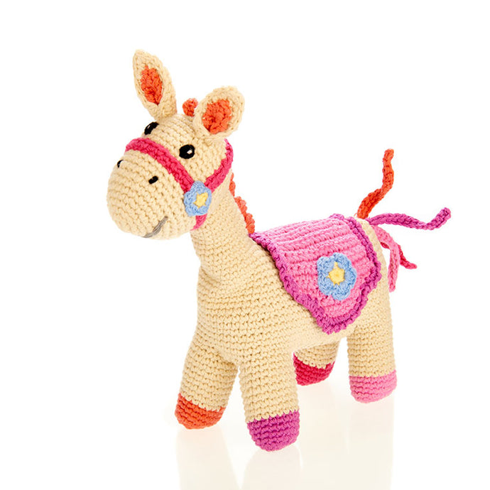 Pebble - Pink Horse Rattle