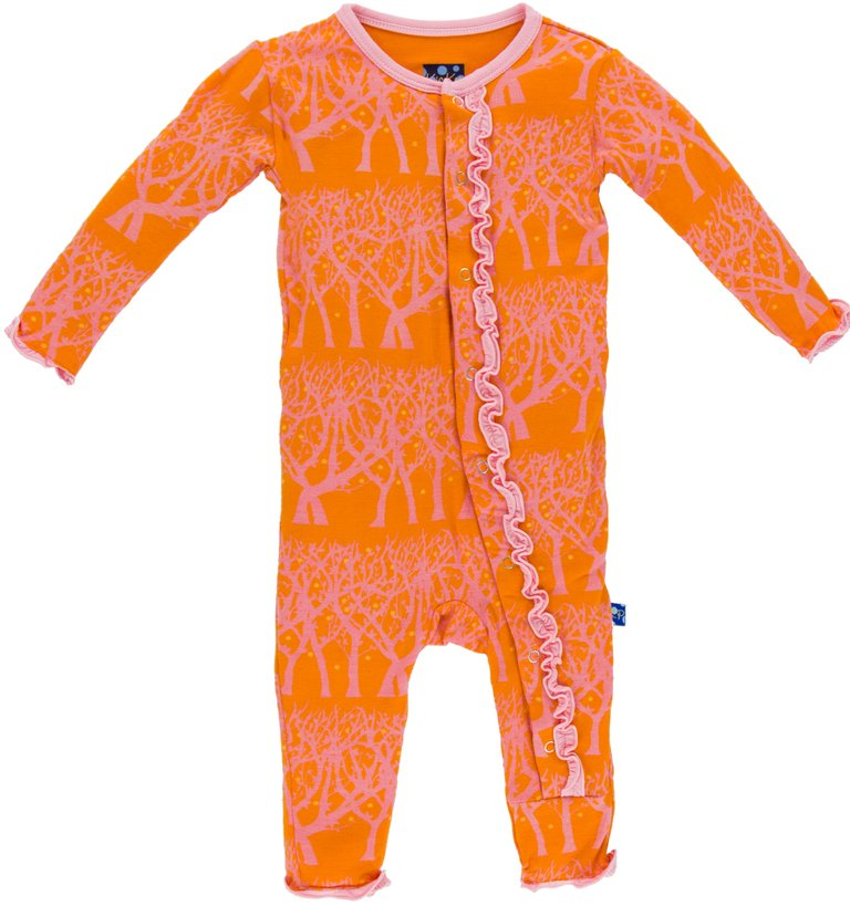 KicKee Pants Print Muffin Ruffle Coverall - Sunset Fireflies
