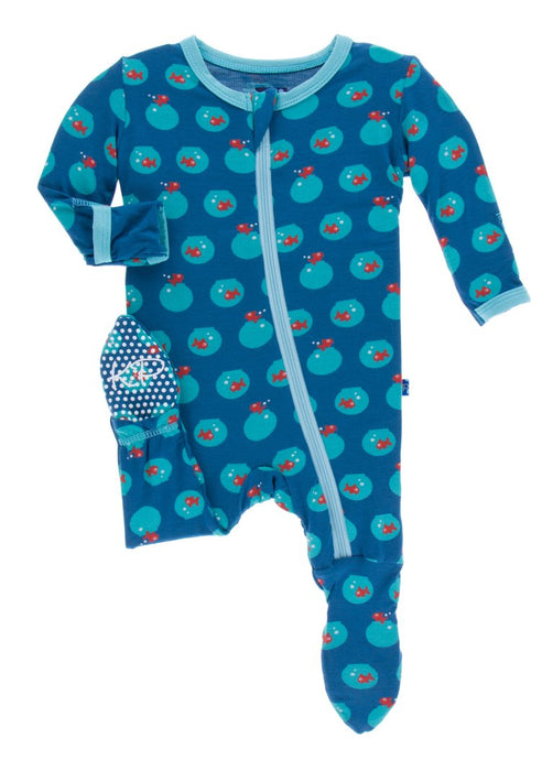KicKee Pants Print Footie W/Snaps - Twilight Fishbowl