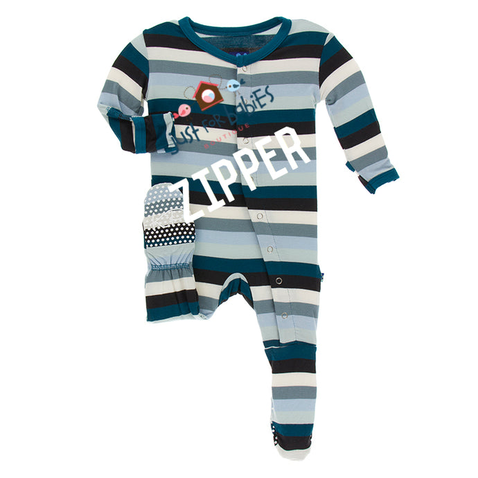 KicKee Pants Print Footie with Zipper - Meteorology Stripe