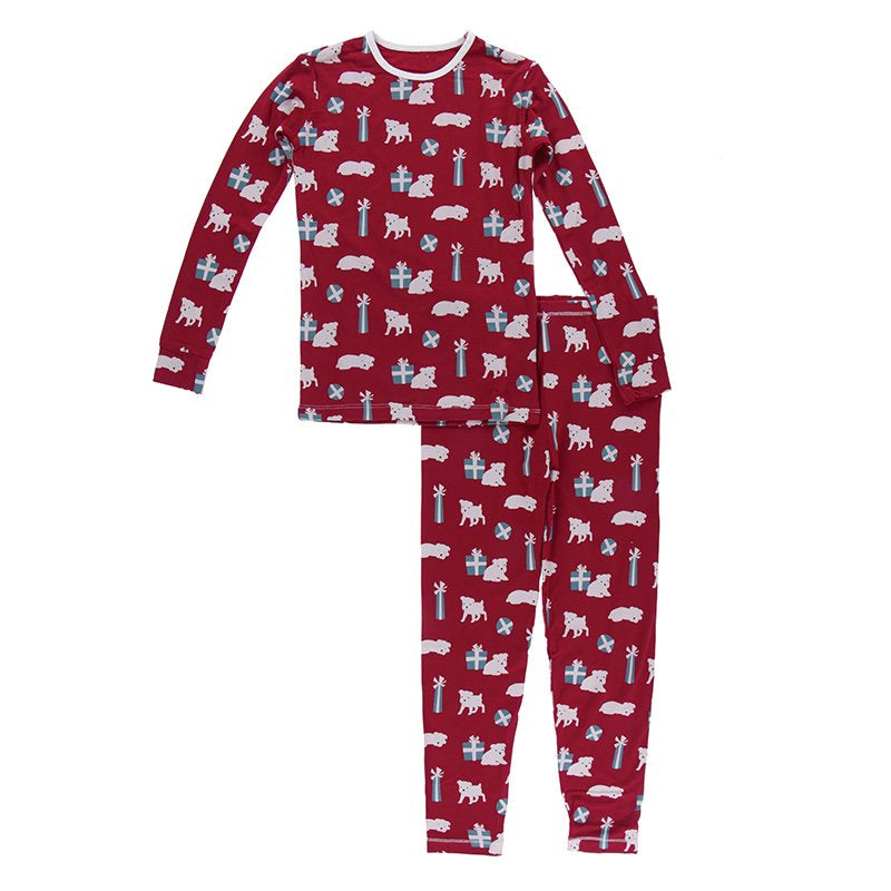KicKee Pants Print Long Sleeve Pajama Set - Crimson Puppies