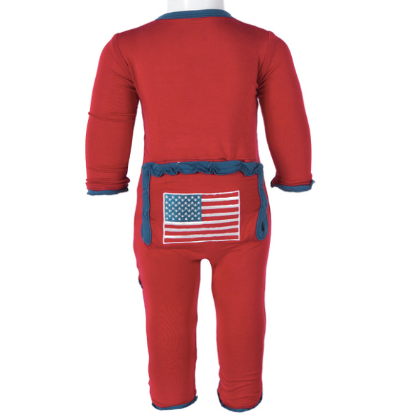KicKee Pants Holiday Muffin Ruffle Applique Coverall - Crimson American Flag