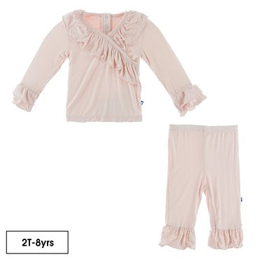 KICKEE PANTS SOLID LONG SLEEVE KIMONO DOUBLE RUFFLE OUTFIT SET IN MACAROON (3-6 MO)