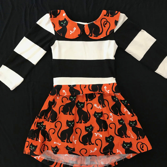 Five Loaves Two Fish Kitties Baby Abbie Dress - Black & White