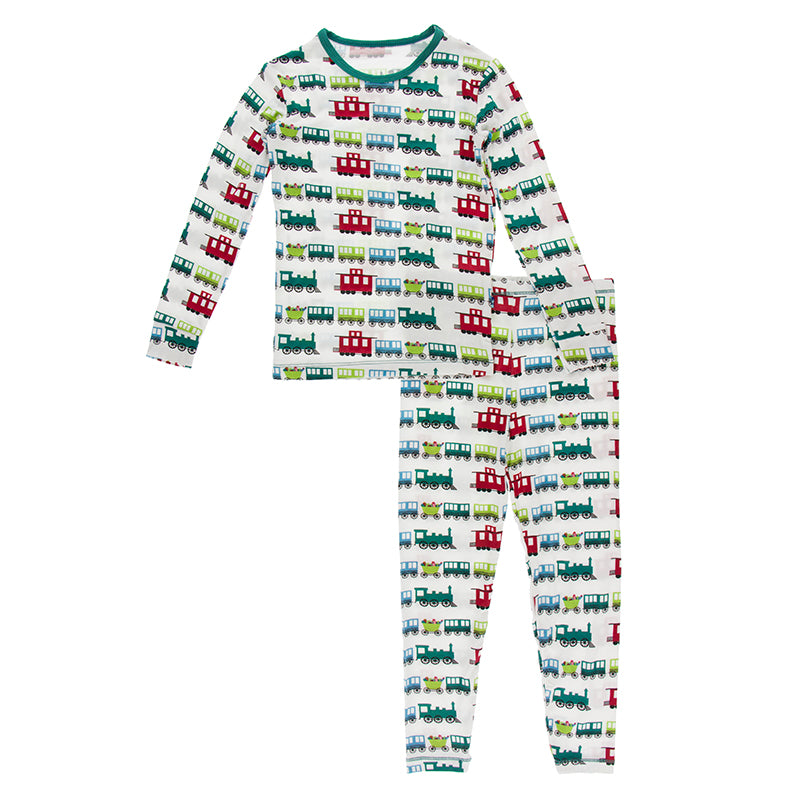 KICKEE PANTS PRINT LONGSLEEVE PAJAMA SET NATURAL TOY TRAIN