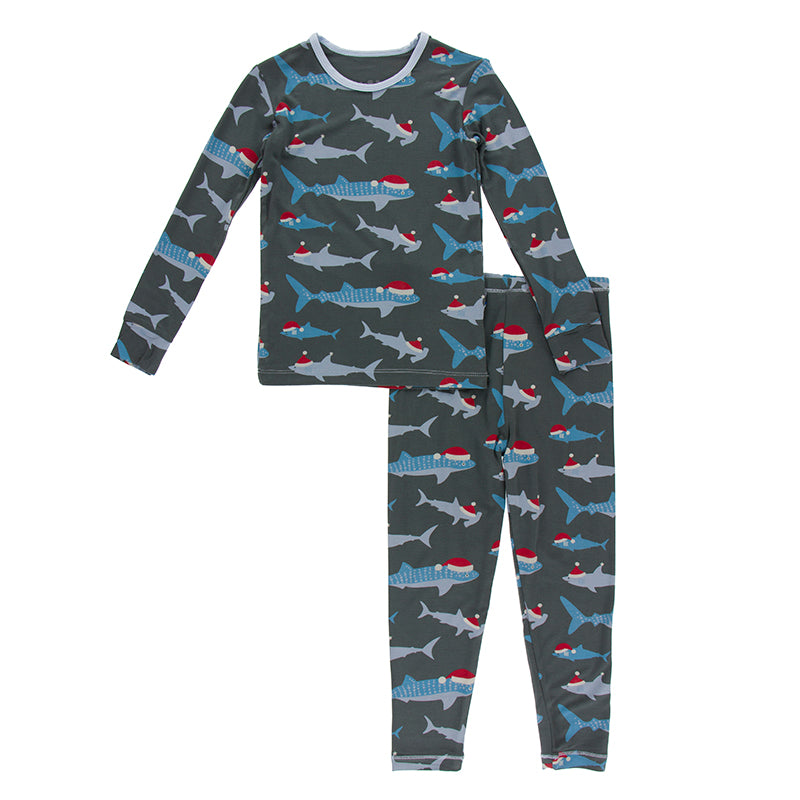 KICKEE PANTS PRINT LONG SLEEVE PAJAMA SET PEWTER SANTA SHARKS